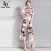 LD LINDA DELLA Spring Summer Fashion Runway Designer Suit Set Women S Two Pieces Ruched Printed