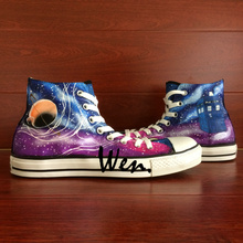 Wen Design Custom Shoes Hand Painted Canvas Snekaers Doctor Who Tardis Galaxy Space Men Women's High Top Canvas Sneakers Gifts