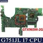KEFU ROG G751JL Laptop motherboard for ASUS G751JL G751JM G751JY G751JT G751J G751 Test original mainboard I7-4720HQ GTX965M-V2G