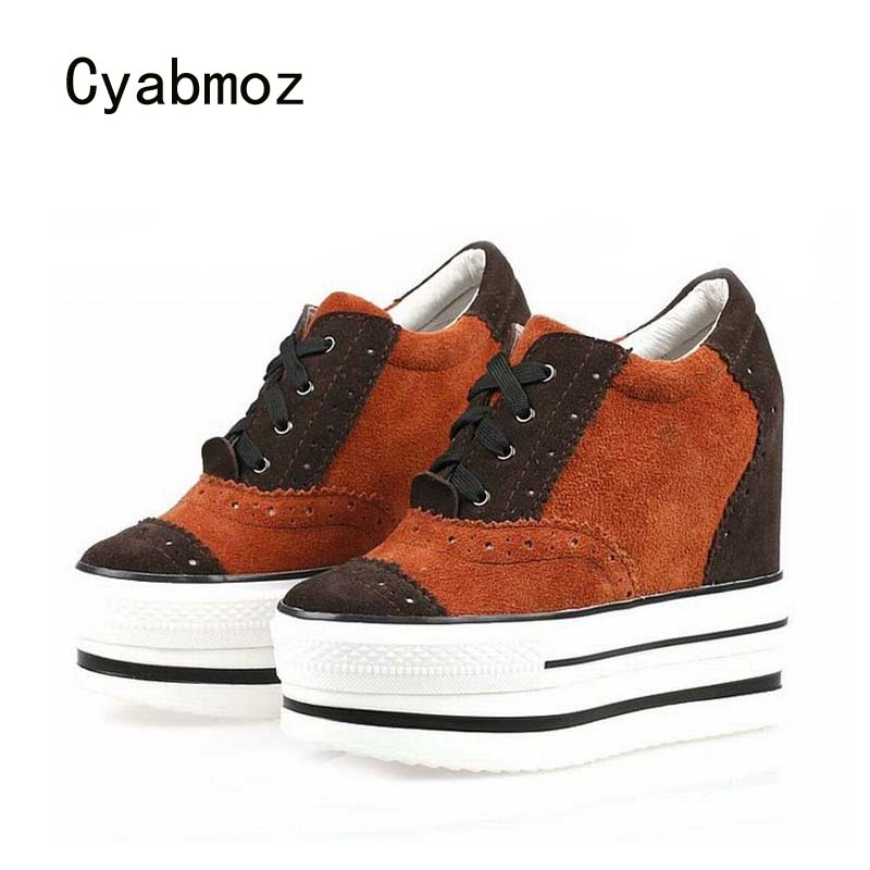 Cyabmoz Women Shoes Genuine leather Platform Wedge Woman High heels Mixed colors Zapatillas deportivas Zapatos mujer Party shoes цена и фото