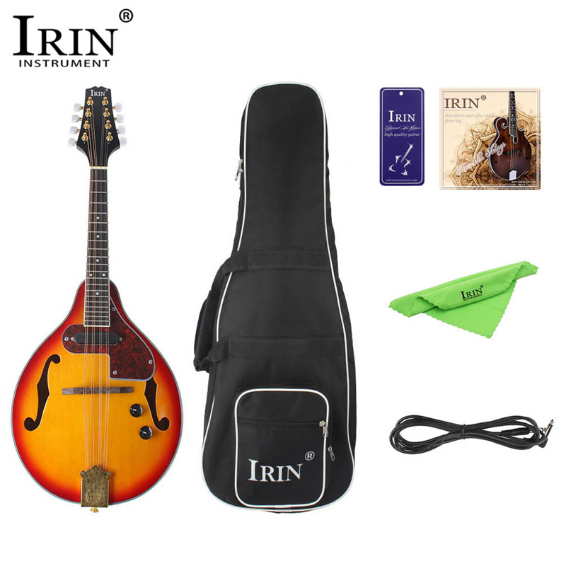 IRIN 8-String Electric Mandolin 7Pcs/Set A Style Rosewood Fingerboard Adjustable String Instrument with Cable Strings Picks Bag цена