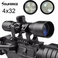 4X32 Compact Tactical Rifle Scope Cross Hair Reticle Mildot Rangefinder Fits 20 Mm Rail Mount For