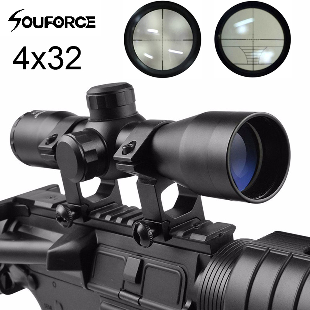 4x32 Compact Tactical Rifle Scope Cross-Hair Reticle Mildot Rangefinder Fits 20 Mm Rail Mount For Hunting Gun Airsoft