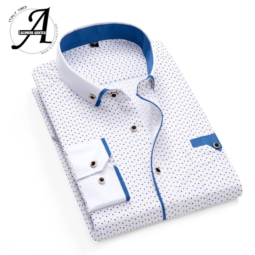 Men Shirt Camisas Male Dress Slim-Fit Printed Plaid-Polka-Dot Masculina Long-Sleeved