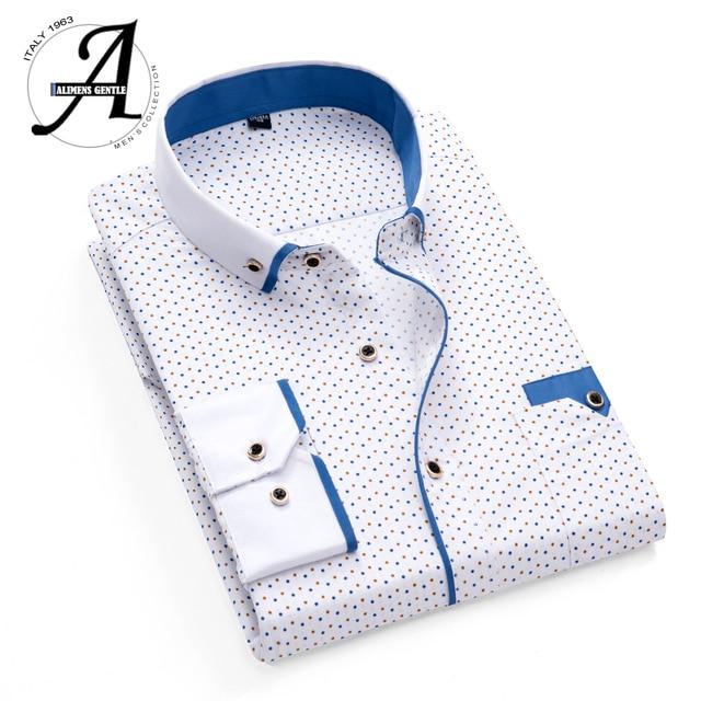 Impresso Xadrez Polka Dot Homens Camisa Longa-Sleeved Camisas Casual Para Homens Slim Fit 21 Cores Masculinas Camisas de Vestido camisas Masculina