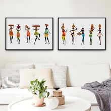 African Women in Traditional Dress Pictures Canvas Painting Poster , Abstract African Black Women Prints Traditional Decoration