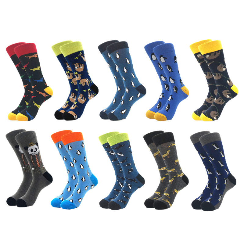 Image 4 - 10pairs/lot Mens Happy Socks Quality Combed Cotton Crew colorful Funny cartoon Socks fashion long male compression Casual sock-in Men's Socks from Underwear & Sleepwears