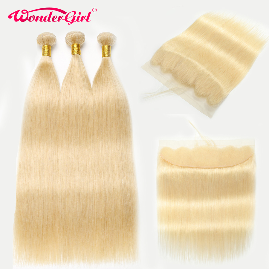 613 Bundles With Frontal Remy Brazilian Straight Hair Bundles With Frontal Blonde Human Hair 3 Bundles