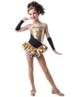 2018 מכירה לוהטת סלוניים שמלת ריקוד תחפושות לילדים ילד התעמלות בגד גוף שמלת תלבושות נקבה בנות לטיני ריקוד להלביש רווה