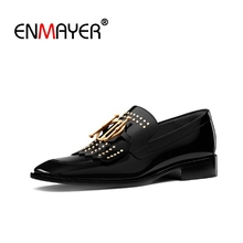 купить ENMAYER Woman Flats Shoes Square Toe Slip-On Low Heels Black Cow Leather Shoes Women Size 34-39 Metal Rivets Slip on CR1546 по цене 3404.08 рублей