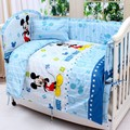 Promotion! 7pcs Mickey Mouse baby bedding bed around piece set 100% cotton cot nursery  (4bumper+duvet+matress+pillow)