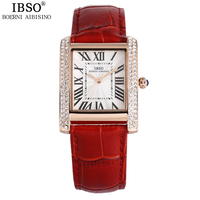 IBSO Rectangle Fashion Woman Watches 2018 Brand Luxury Fake Diamond Beautiful Party Lady Watch Genuine Leather Wrist watch