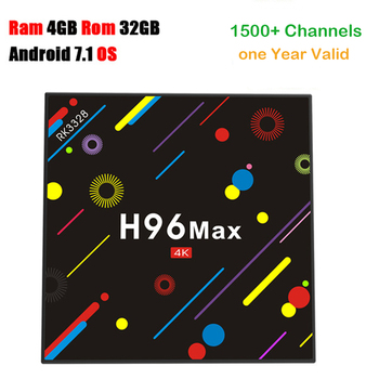 Android tv box H96 MAX H2 Android 7.1 OS RK3328 4GB 32GB ROM with Africa European IPTV server 1200 channels smart TV box H96 pro