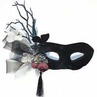 Fashion Flower Net Tree Branch Horn Mask Venetian Masquerade Halloween Ball Party Antler Tassels Black Mask Costumes Gothic