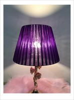 purple color Lamp shade for table lamp simple Pattern lace Textile Fabrics Decorative lamp shade