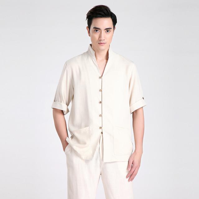 2017 Nova Bege Verão Masculina Manga Curta Camisa Kung Fu Estilo Chinês algodão linho wu shu clothing s m l xl xxl xxxl 2603