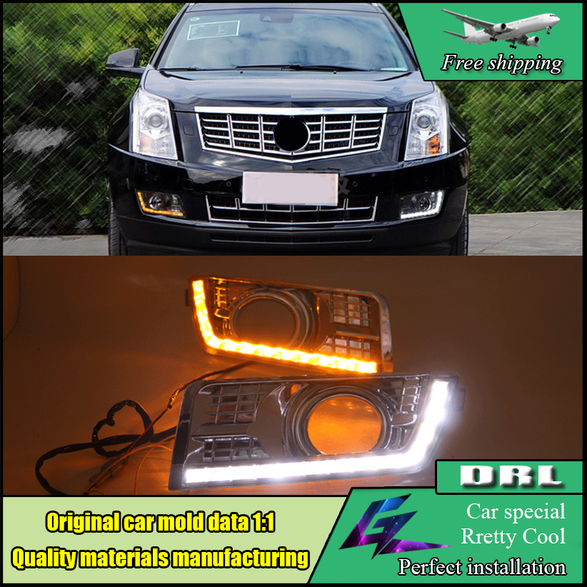Car styling LED Daytime Running Light For Cadillac SRX 2012 2013 2014 2015 LED DRL with Yellow turn Signal chrome fog lamp cover ijdm amber yellow error free 2835 led 1156 p21w led bulbs for car front or rear turn signal lights daytime running lights