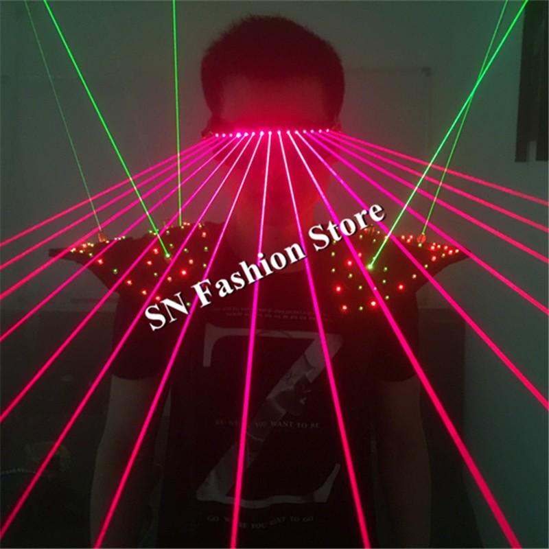 T16 Colorful light ballroom laser vest dj laser costumes dance wears laser glasses red laser suit led clothes shoulder led vest 9