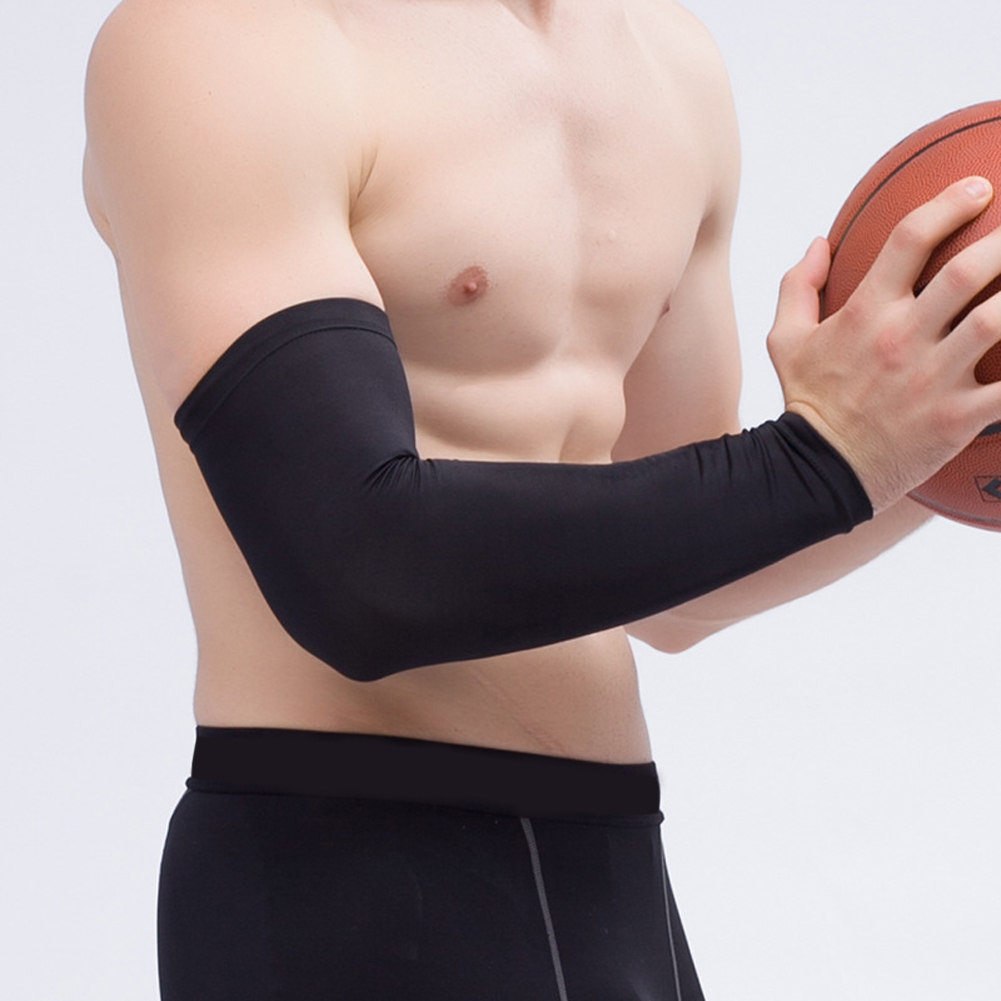 1piece Elastic Basketball Arm Elbow Protector Brace Gear Hand Arm Protective Pad Support Anti-crash Long Sleeve Sports Safety