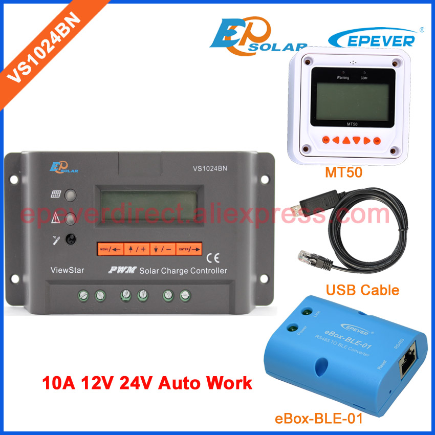 24 volt 10A 10amp solar charger controller EPEVER PWM regulator VS1024BN bluetooth and USB cable meter MT50 remote