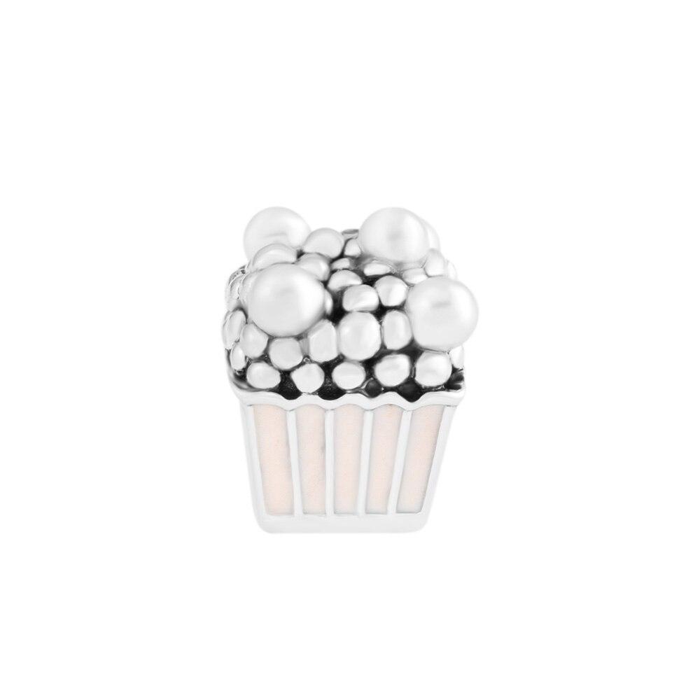 Pandulaso Délicieux Popcorn D'été Rose Émail Charmes pour La Fabrication de Bijoux Fit Femmes BRICOLAGE Chaîne Bracelets Filles Argent 925 Bijoux