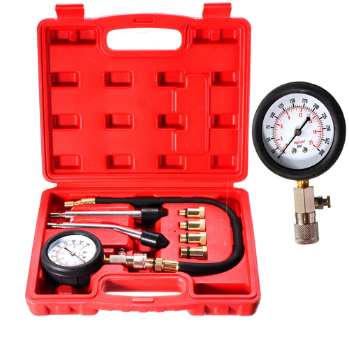 Liplasting 8 PCS Petrol Gas Engine Cylinder Compressor Gauge Meter Test Pressure Compression Tester Leakage Diagnostic Post