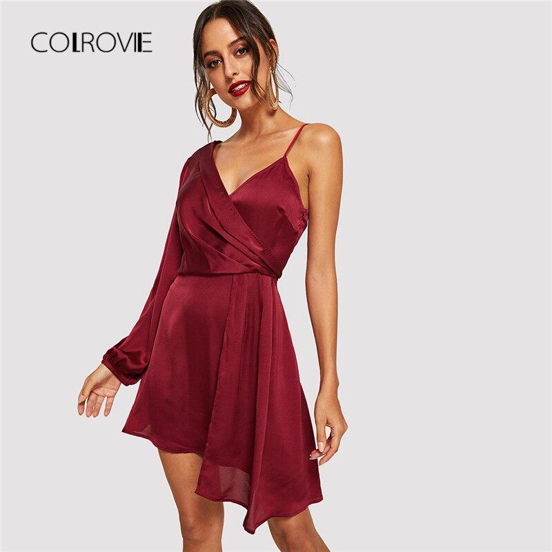 COLROVIE/красные однотонные вечерние платья с v-образным вырезом и асимметричным плечом, женское осеннее сексуальное платье 2018, винтажные элега...