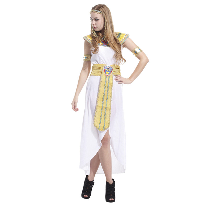 Womans Sexy Disfraces Halloween Masquerade Cosplay Costumes Greece Goddess Egypt Queen Arab Girl Role Play Long Dress B-4073