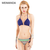 Hand Crocheted Halter Bikini Solid With Chest Pad Without Steel Care 2016 New Hot Plus Size
