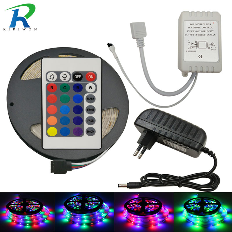 5M 10M SMD 3014 RGB LED Strip Light Lamp Flexible Tape Diode Ribbon Non-Waterproof and Remote Controller with DC 12V Adapter set