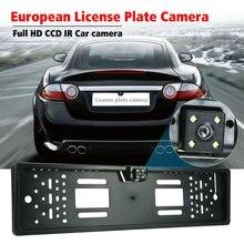 ЕС Европейский номерной знак рамка Автомобильная камера заднего вида Водонепроницаемая камера ночного видения заднего вида 4 светодиодный светильник