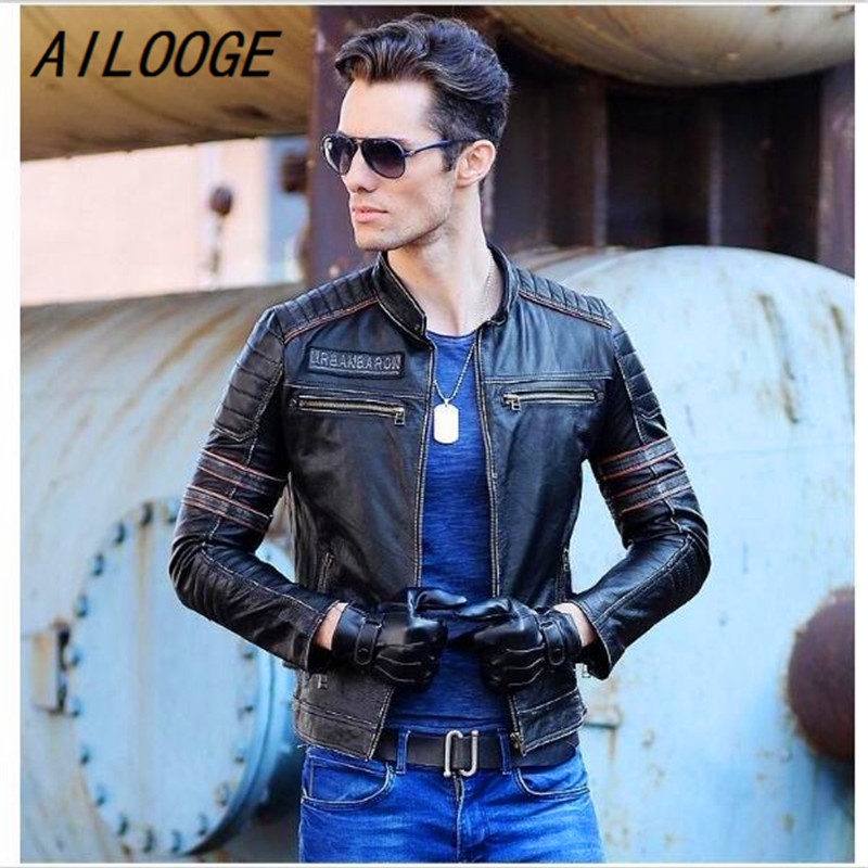 AILOOGE Free Shipping Gift Clothing Men Skull Leather Jackets Men's Top Genuine Leather Biker Jacket.Motorcycle Homme Fitness