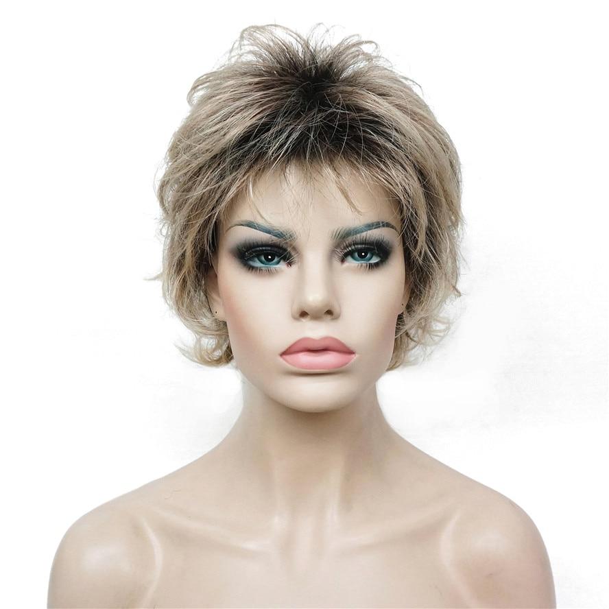 StrongBeauty Kvinnors Short Straight Bloned Mix Syntetisk Full - Syntetiskt hår - Foto 3