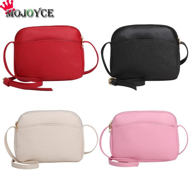 Simple Women PU Leather Messenger Handbags Candy Color Shell Shoulder Bags Crossbody Bag Solid Fahion Small Black White Pink