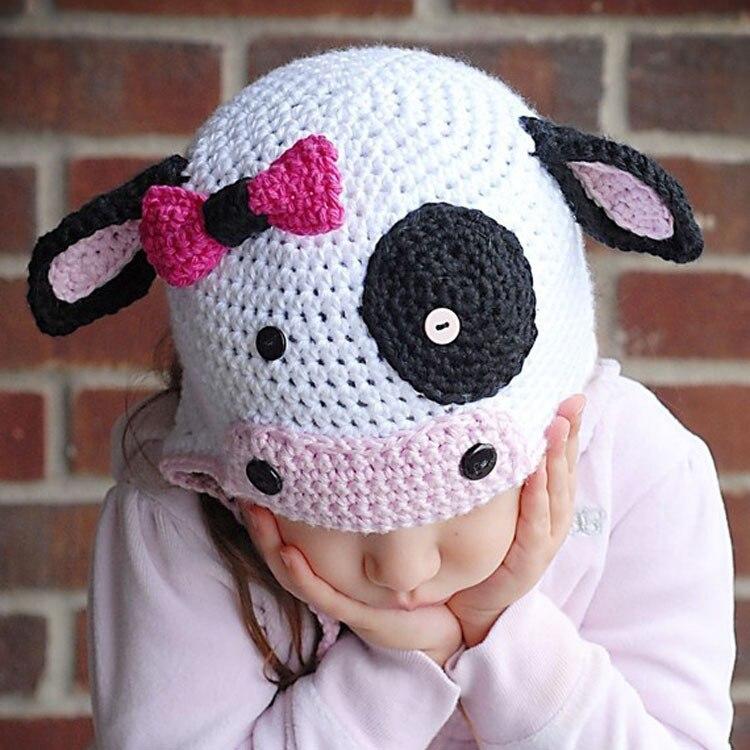 Lovely leche Vaca del ganchillo del bebé hizo punto el sombrero ...