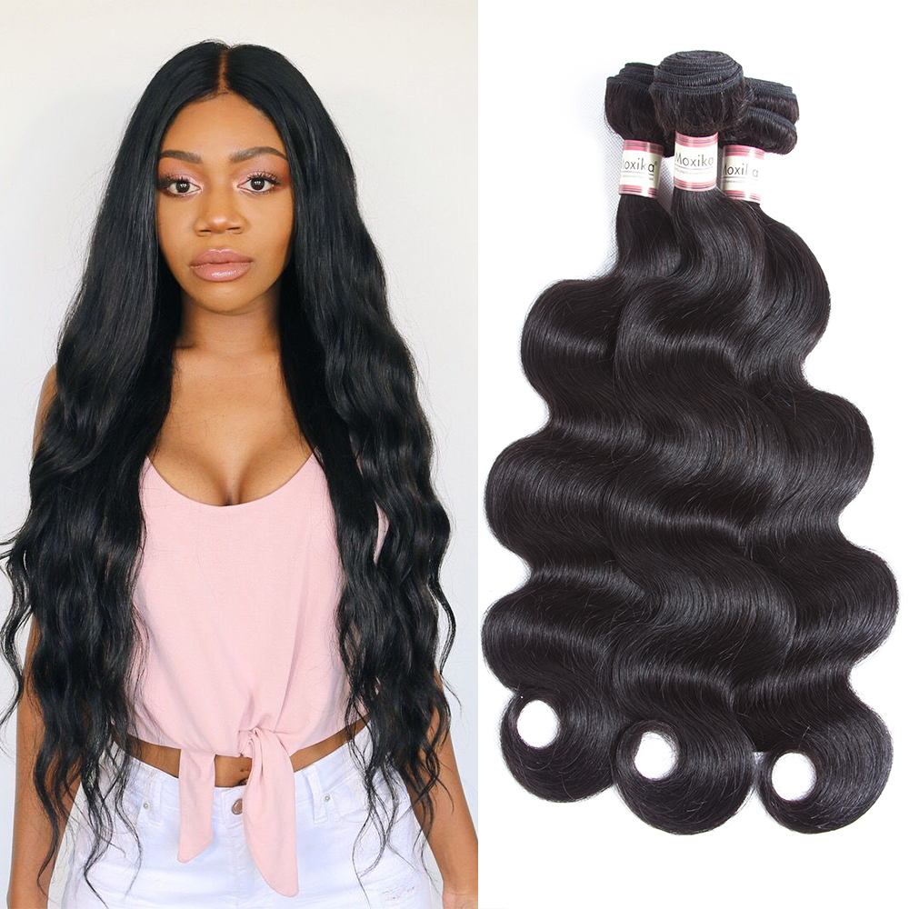 Moxika Brazilian hair Weave Bundle 100% body wave human hair Extensions 4pcs/lot 100g/pcs Drop Shipping Remy 8-28inch full thick