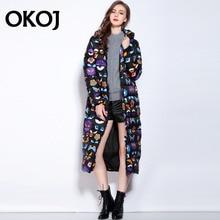 Plus size print 2016 winter jacket Women Down jackets Women's down coat white duck down coats Outerwear long thicken Hooded