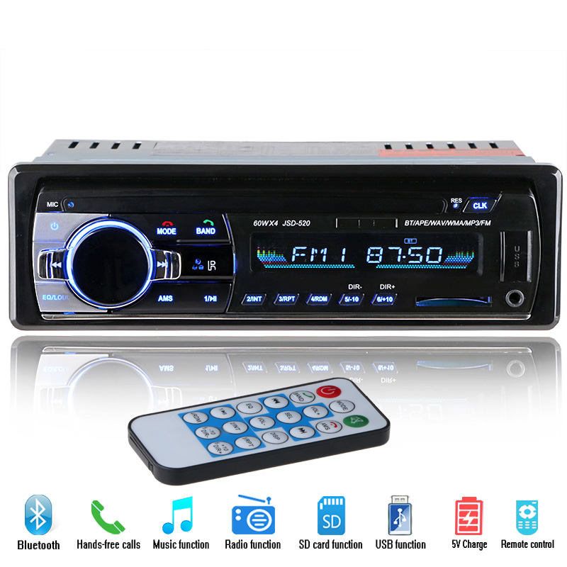 new 12v car radio mp3 audio player bluetooth aux usb sd. Black Bedroom Furniture Sets. Home Design Ideas