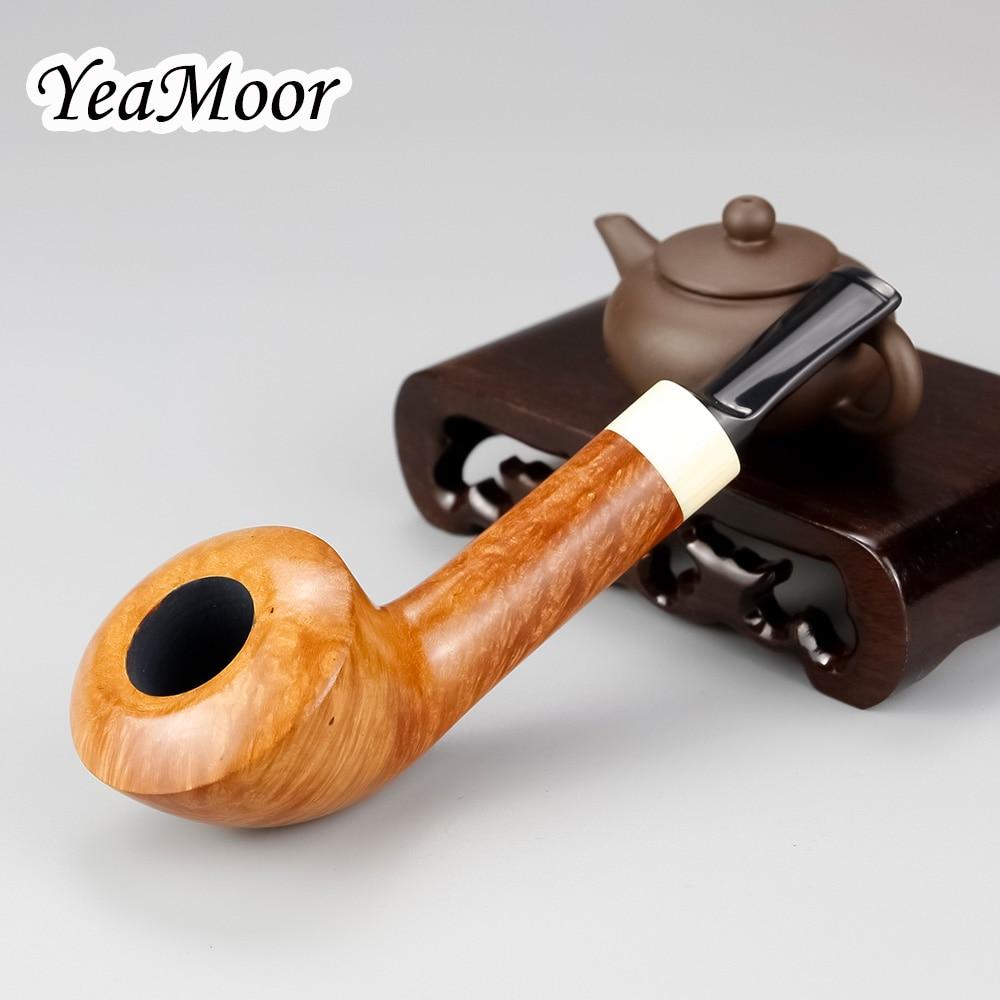 Big Bowl Briar Pipe 74 tools free Smoking Tobacco Pipe Deplanate White Mouth Smoking Pipe Straight 9mm Filter Briar Wood Pipe