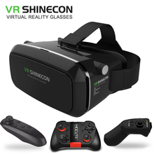 Hot VR Shinecon Bluetooth Virtual Reality 3D Glasses Fit Iphone Samsung VR Box 4.0-6.0 Inch smartphone Full package+controller
