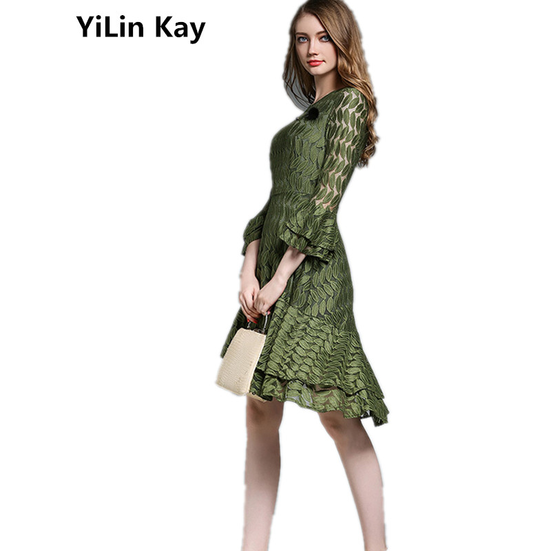 YiLin Kay Woman Summer Dress 2017new Runway Designer Style Party Dresses High Quality Fashion Asymmetrical Plus Size Lace Dress