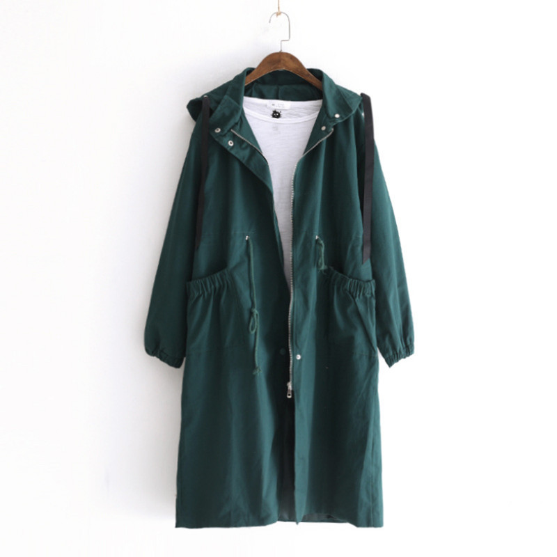 Quality 2018 Autum Korean Women Loose Long Hooded Drawstring Waist   Trench   Coat Cotton Casual Big Pocket Coat Windbreaker Female