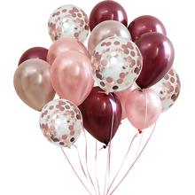 METABLE 100PCS 12/10 inch Burgundy Latex Balloon and Rose Gold Confetti Balloons for wedding party anniversary decoration