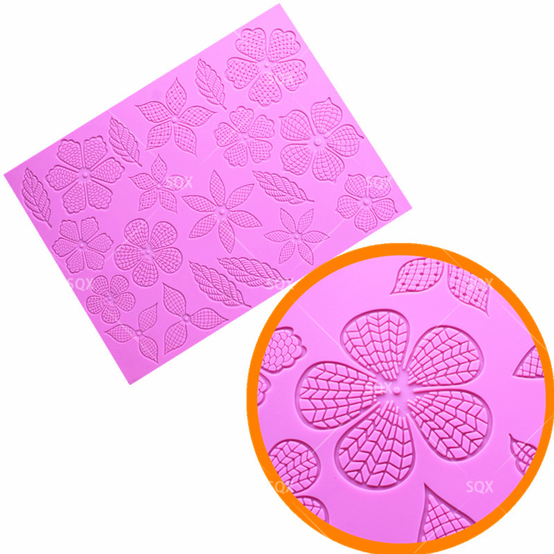 Leaves lace Silicone Mat Wedding <font><b>Cake</b></font> <font><b>Decoration</b></font> Silicone Lace Mold <font><b>Cake</b></font> Mould Kitchen <font><b>Accessories</b></font> <font><b>Fondant</b></font> <font><b>Cake</b></font> <font><b>Tools</b></font> LS150 image