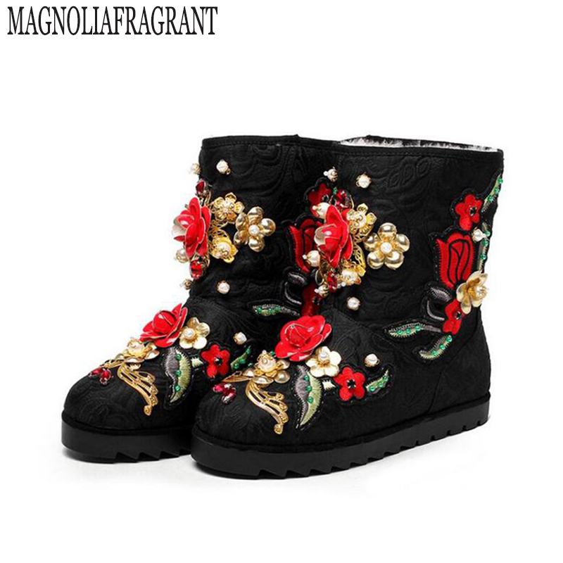 2017 winter shoes Custom handmade pearl flowers really warm wool boots snow boots women boot z574 ensemble stars 2wink cospaly shoes anime boots custom made
