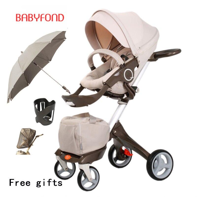 2019 nouveau luxe 3 in1 bébé poussette haute paysage Portable landaus pliants rapides landaus pour les nouveau-nés système de voyage 2 en 1