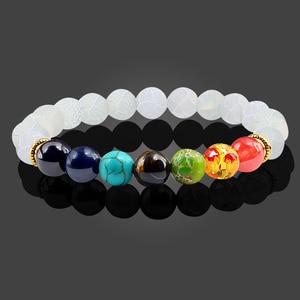 Image 5 - Браслеты и Обручи из натурального камня тигровые глаза 7 цветов, браслеты чакры, балансирующие бусины для йоги, молитвенный эластичный браслет Будды, мужские аксессуары