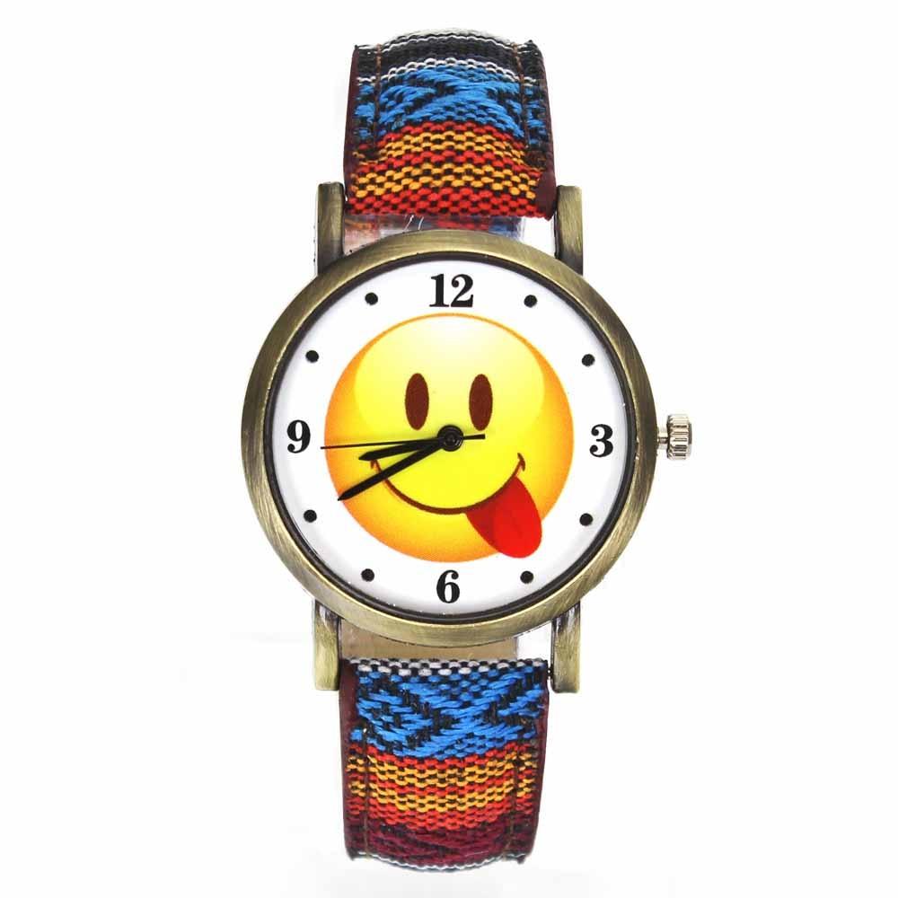 Emoji divertido Smiley Hippie cara Emoticon Relojes hombres mujeres militar camuflaje cinturón de lona deporte al aire libre reloj de pulsera de cuarzo