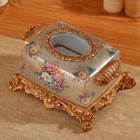 Ретро пасторальная роскошная коробка модная индивидуальная смоляная салфеточница коробка стиль украшение для гостиной