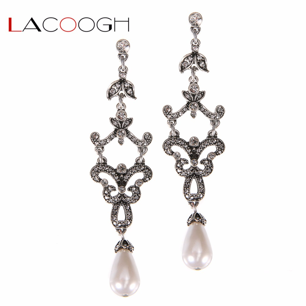 Lacoogh New Clear Rhinestone Crystal Chandelier Long Earrings For Women Simulated Pearl Bridal Wedding Jewelry F10107 In Drop From